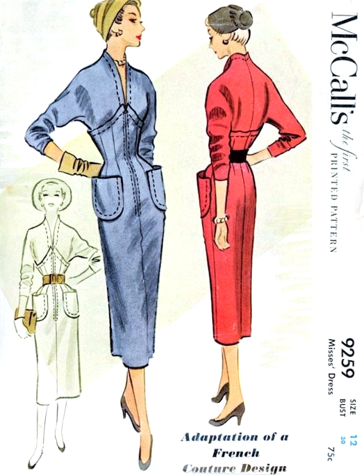 RARE French Couture Sheath Dress Pattern McCALLS 9259 Figure ...