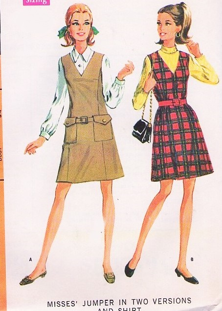 Mod 1960s Jumper And Shirt Blouse Pattern Mccalls 9368 Cute V Neck