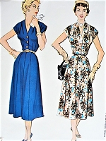 1950s Vintage CHIC Button Front Dress McCall's 9640 Sewing Pattern Bust 40