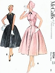 1950s LOVELY Princess Seam Fit n Flare Dress Pattern McCALLS 9704 Front Button Sleeveless Dress Bust 34 Vintage Sewing Pattern UNCUT