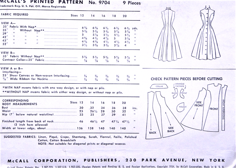 1950s Lovely Princess Seam Fit N Flare Dress Pattern Mccalls 9704