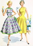 1950s Vintage McCalls 3489 Two Pc Rockabilly Dress Pattern Beautiful Full Skirt Bateau Boat Neckline Bodice Top Flattering Design Bust 34 Vintage Sewing Pattern