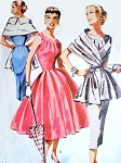 1950s Slim or Full Skirt Dress Stunning Stole Wrap Pattern McCalls 3564 Daytime or Cocktail Evening Bust 30 Vintage Sewing Patterns