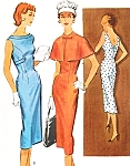 1950s Slim Figure Hugging Sheath Dress and Short Cape Pattern McCalls 3925 Fifties Eye Catching Design Bust 32 Vintage Sewing Pattern