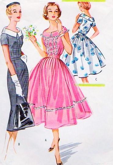 1950s Lovely Rockabilly Dress Pattern Mccalls 3988