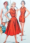 1950s Beach Wear Pattern McCalls 4031 Playsuit and Full Skirt Bust 34 Vintage Sewing Pattern UNCUT