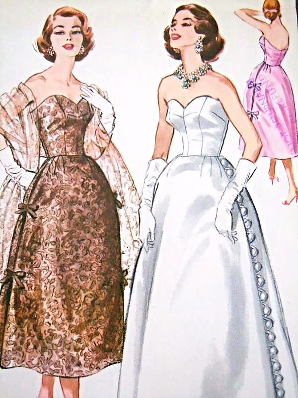 1950s RARE Sybil Connolly Evening Gown Pattern McCalls 4083 ...