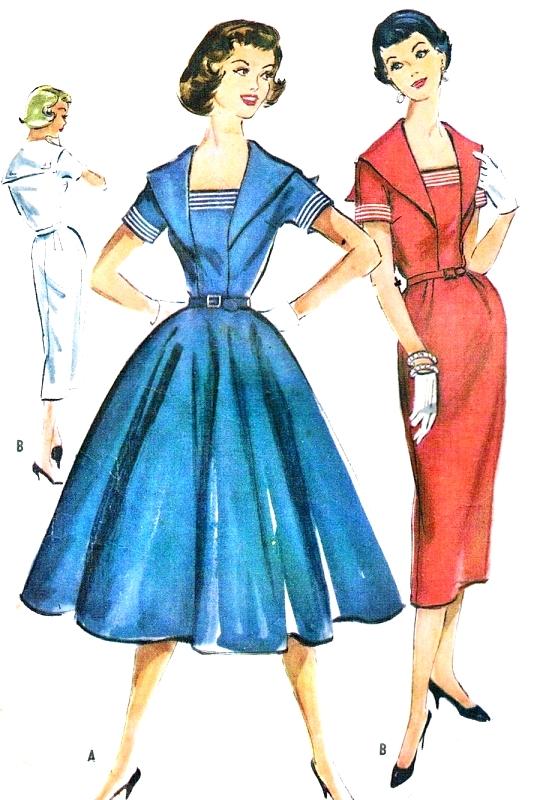 40s Slim Or Full Skirt Sailor Style Dress Pattern McCalls 40 Delectable Vintage Dress Patterns 1950s
