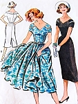1950s LOVELY Slim or Full Skirt Dress Pattern McCALLS 4562 Notched Neckline Day or Party  Bust 34 Vintage Sewing Pattern