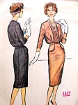 1950s Blouson Front Peplum Dress Pattern Easy To Sew Slim Dress Day or Evening McCalls 4752 Vintage Sewing Pattern Bust 40