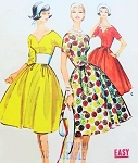 1950s FABULOUS Dress Pattern McCALLS 4965 Beautiful Choice of Three Bodices Keyhole, Notched V Neckline  or Scoop Full Lovely Skirt Daytime or Party Bust 31 Easy To Sew Vintage Sewing Pattern