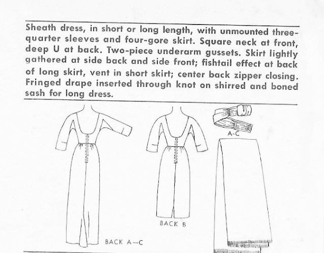 1960 SIZZLING Pauline Trigere Fishtail Back Evening Gown Pattern ...