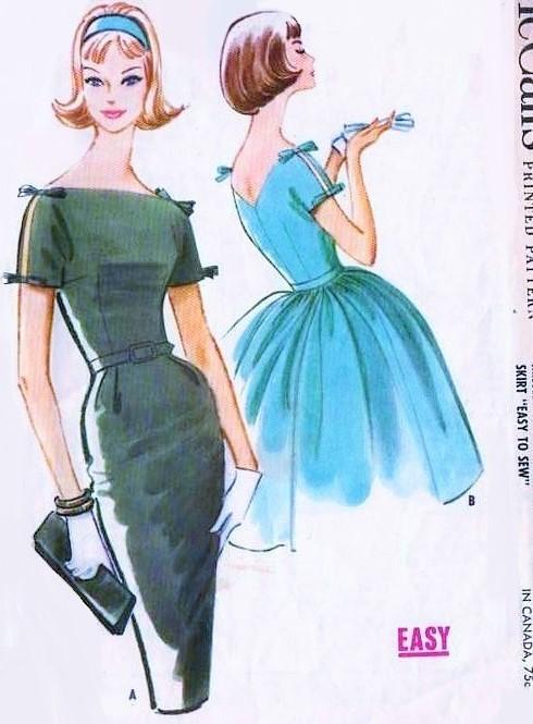 1960s Beautiful Dress Pattern Mccalls 5776 Cocktail
