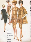 1960s Lovely Trigere Evening Party Dress Overblouse and Sheer Coat Pattern McCalls 6567 Stunning Camisole Bodice Slim Cocktail Dress Flared Coat Vintage Sewing Pattern