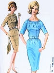 1960s CHIC Slim Mad Men Dress Pattern McCALLS 6603 Figure Show Off  Style, Shirred or Bias Roll Collar Necklines Bust 32 Vintage Sewing Pattern