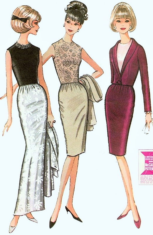 1960s Slim Evening Gown Or Cocktail Dress And Jacket