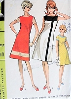 Vintage 1960s MOD Modrian Design Dress in Three Versions McCall's 8139 Sewing Pattern Bust 36