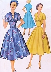 1950s Beautiful Dress Pattern McCalls 9244 Unique Low Notched Keyhole Neckline Fitted Midriff Full Flattering Skirt Cocktail Party Dress Bust 32 Vintage Sewing Pattern