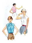 1950s ROCKABILLY Blouse Pattern McCALLS 9316 Gathered Neckline Sleeveless Blouse Bust 34 Vintage Sewing Pattern