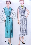 1950s Classic Front Button Dress or Jumper and Blouse Pattern McCalls 9879 Flattering Princess Seam V Neckline Bust 32 Vintage Sewing Pattern