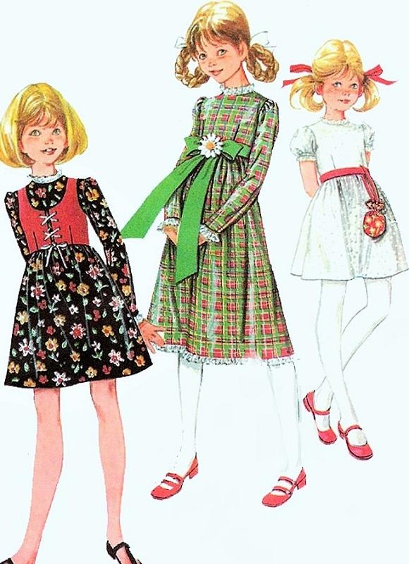 1970s McCalls 2660 Girls Sweet Empire Dress and Vest 3 Cute Kawaii ...