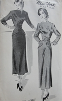 1940s Vintage SOPHISTICATED Belted Dress in Two Styles New York Pattern 569 Sewing Pattern Bust 36