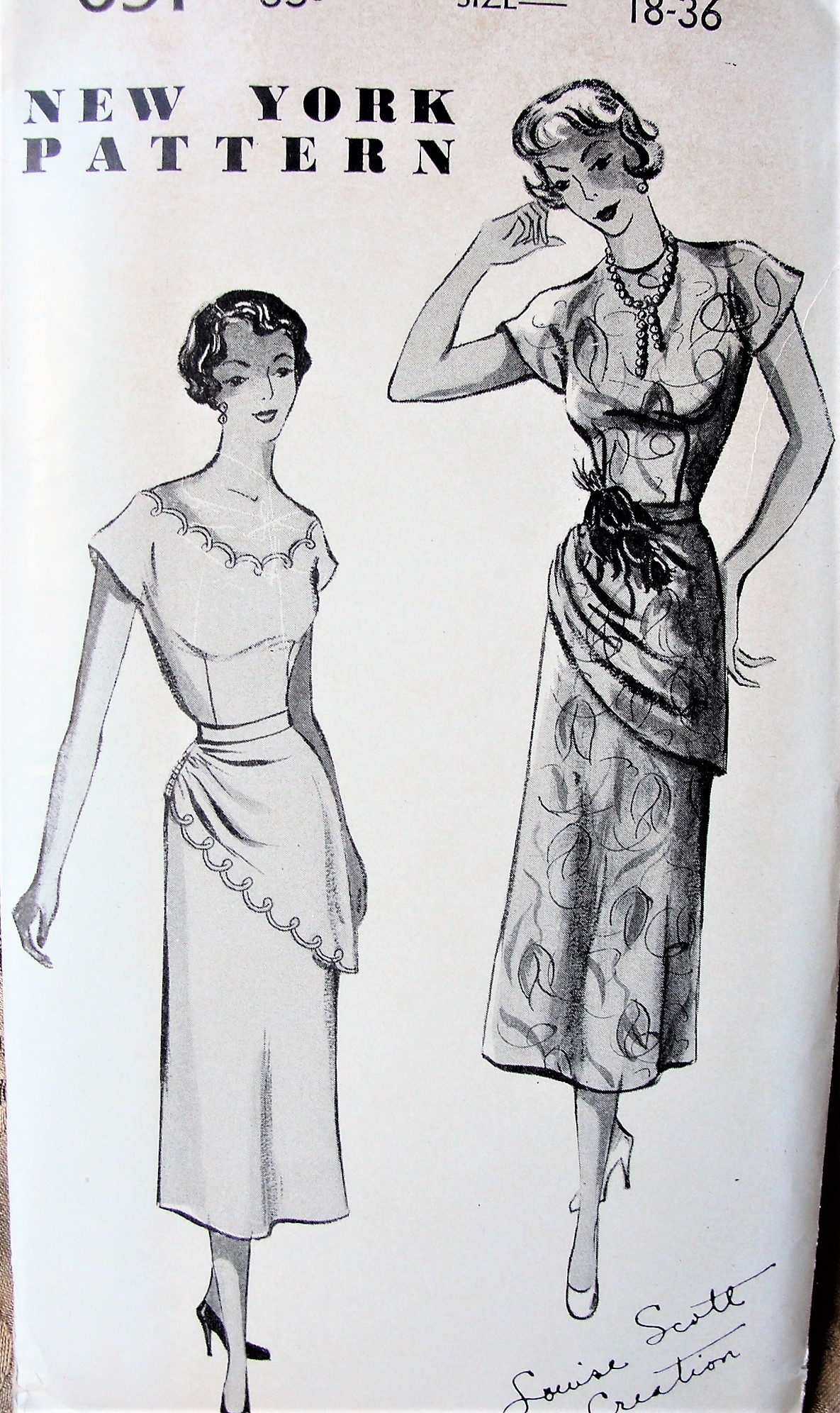 1940s Stunning Cocktail Evening Dress Pattern New York 691 Louise Scott Design 2 Lovely Styles Draped Peplum Across Front Side Shirred Bust 36 Vintage Sewing Pattern Factory Folded