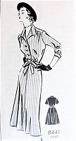 1950s Vintage POSH Shirt Dress with Slim or Full Skirt PATTORAMA 8441 Sewing Pattern Bust 38