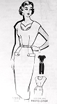 1950s Bombshell Slim Dress Pattern PattORama 1598 Slim Figure Show Off Dress Day or Evening Interesting Cut Out Neckline Version Bust 32 Vintage Sewing Pattern