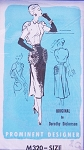 1950s Dramatic Cocktail Evening Dress Pattern PROMINENT DESIGNER M320 By Dorothy Dickerson Ultra Unique Design Back Draped Blouse Flared Back Skirt Bust 34 Vintage Sewing Pattern FACTORY FOLDED