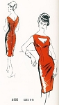 1960s  Estevez Evening Cocktail Dress Pattern PROMINENT DESIGNER  A893 Quick To Fit Sheath Peekaboo Cutout Neckline Figure Show Off Party Dress Bust 34 Vintage Sewing Pattern