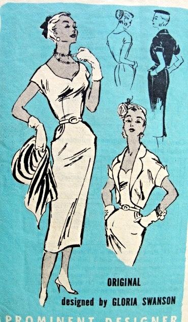 1950s Gloria Swanson Cocktail Dress and Bolero Pattern Prominent ...