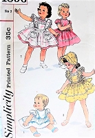 1950s Vintage SWEET Toddler's Dress, Pinafore, and Bonnet Simplicity 1896 Sewing Pattern Chest 21