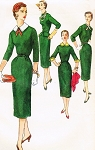 1950s Slim Dress Pattern SIMPLICITY 1264 Detachable Collars, Cuffs and Peplum Bust 34 Vintage Sewing Pattern FACTORY FOLDED