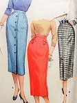 1950s CLASSY Slim One Yard Pencil Skirts Pattern SIMPLICITY 1690 Simple To Make Wiggle Skirt 3 Style Versions waist 24 Vintage Sewing Pattern
