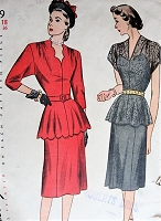 1940s GLAMOROUS Two Pc Dress Pattern SIMPLICITY 1829 Flared Peplum Blouse and Slim Skirt, Two Versions Bust 36 Vintage Sewing Pattern