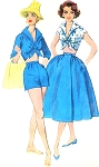1950s ROCKABILLY Beach Resort Weekend Wear Pattern SIMPLICITY 2121 Wing Collar Midriff Crop Top, High Waist Shorts, Full Wrap Skirt Bust 32 Vintage Sewing Pattern