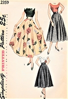 1940s BEAUTIFUL Skirt Pattern SIMPLICITY 2359 Ballerina or Daytime Length Circle Skirt Figure Flattery Waist 26 Vintage Sewing Pattern