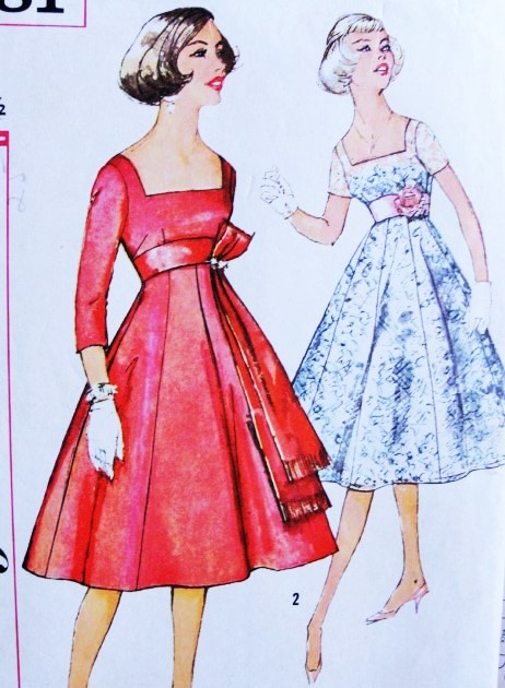 1950s BEAUTIFUL Empire Evening Party Dress Pattern SIMPLICITY 2881 ...