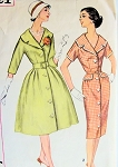 1960s FAB Mad Men Style Flared or Slim Dress Pattern SIMPLICITY 3321 Lovely  Wide Collar Front Button Dress Daytime or Cocktail Bust 32 Vintage Sewing Pattern