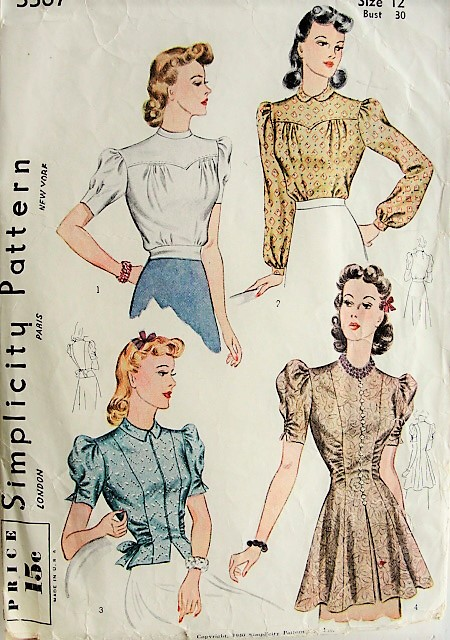 40s LOVELY Blouse Set Simplicity Pattern 40 Bust 40 Vintage Sewing Adorable Simplicty Patterns