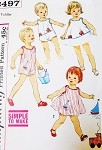 ADORABLE 1950s Toddlers Sunsuit, Dress and Bloomer Pants Pattern SIMPLICITY 3497 Simple To Make Little Girls Boys Beach Wear Pattern + Cute Applique Transfers Size 2 Vintage Sewing Pattern FACTORY FOLDED
