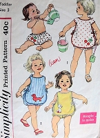 1960s Vintage SWEET Toddler's Two Piece Sunsuit with Transfers Simplicity 3501 Childrens Sewing Pattern Chest 22