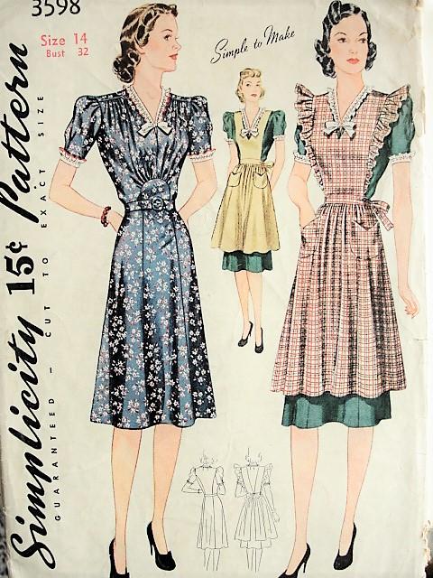 1930s BEAUTIFUL Dress and Pinafore Apron Pattern Simplicity 3598 ...