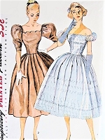 1950s Lovely OFF SHOULDERS Cocktail Party Evening Dress Pattern SIMPLICITY 3855 Two Flattering Designs Bust 30 Vintage SewingPattern FACTORY FOLDED