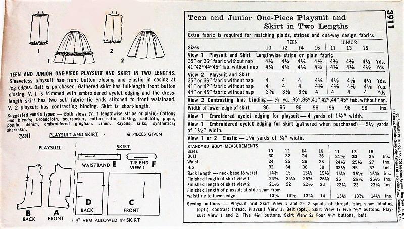 1950s CUTE Playsuit and Skirt Pattern SIMPLICITY 3911 Beachwear ...