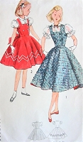 1950s CUTE Little Girls Jumper and Blouse Pattern SIMPLICITY 3963 Sweet Double Breasted Circle Skirted Jumper Dress, Puff Sleeves Blouse Size 8 Childrens Vintage Sewing Pattern
