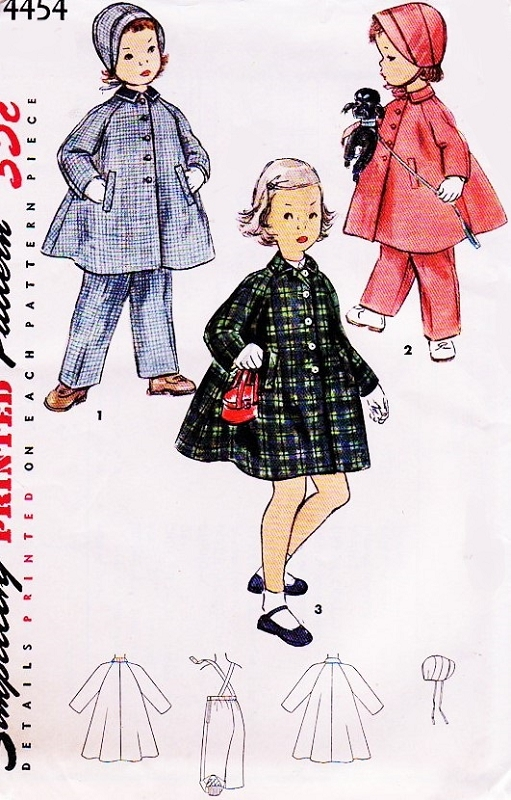 1950s Adorable Childrens Pattern Simplicity 4454 Childs Coathat And