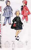 1950s ADORABLE Childrens Pattern SIMPLICITY 4454 Childs Coat,Hat and Leggings  Toddlers Size 4 Vintage Sewing Pattern