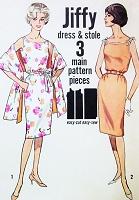 1960s CUTE Jiffy Slim Dress and Stole Pattern SIMPLICITY 4471 Two Style Versions Day or Evening Bust 32 Vintage Sixties Sewing Pattern